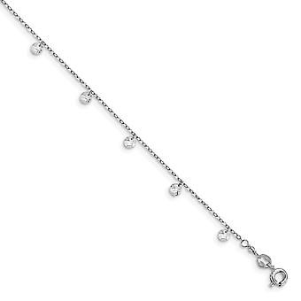 1.4mm 925 Sterling Silver Rhod plated Crystal With 1.25 In Ext. Anklet 9 Inch Jewelry Gifts for Women