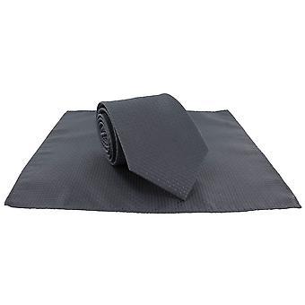 Michelsons de Londres Semi planície gravata e lenço de bolso conjunto - cinza