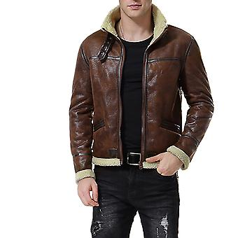 Cloudstyle Men's Faux Motorcycle Leather Jacket Thickening Plus Lining