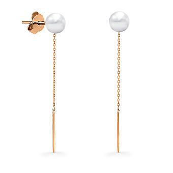Earrings Long Pearl 18K Gold (Single Piece) - Rose Gold, White Pearl