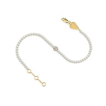 Bracelet Pearls Cluster Diamonds and 18K Gold