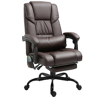Vinsetto 6-Point PU Leather Massage Racing Chair Electric Padded Height Angle Adjustable 5 Wheels w/ Remote Home Office Comfort Masseuse Relaxation Swivel Ergonomic Brown