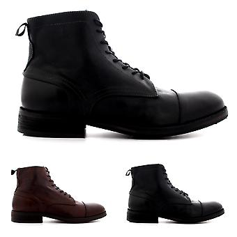 Mens H By Hudson Palmer Leather Smart Biker Office Lace Up Ankle Boots