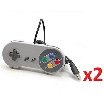 2x USB Retro Super Nintendo SNES Controller Jopypads for Win PC/MAC Gamepad