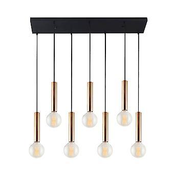 Lampe de suspension tube noir, métal doré 108x28x120 cm