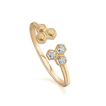 Diamant geometrische Trilogie offenen Ring in 9ct Gelbgold 191R0907019