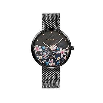 Strand By Obaku S700LXBBMB-DF Flower-Charcoal Black Mesh Wristwatch