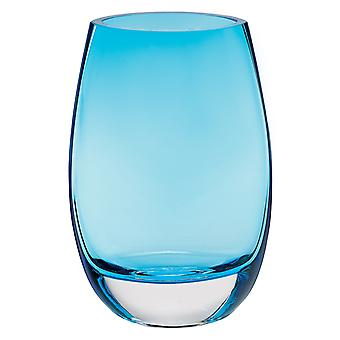 """8"""" Mouth Blown Crystal Lead Free Oval Thick Aqua Blue Walled Vase"""
