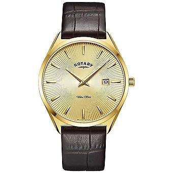 Rotary Miehet&s Ultra Slim | Ruskea nahkahihna | Gold PVD kullattu kotelo GS08013/03 Watch