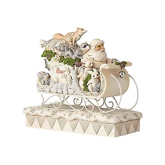 White Woodland Santa In Sleigh Christmas Collectible