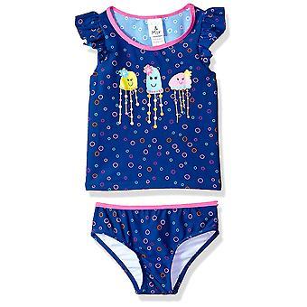 KIKO & MAX Little Girlsă Set de costume de baie cu cămașă de baie Rashguard cu mânecă scurtă, Flutter navy, 2T