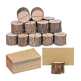 10PCS rustieke houten kaarthouders tafel nummer teken stomp met kaart