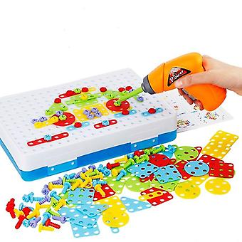 Creative Mosaic Puzzles Play Toys Set- Screw Nuts Tools Building 3d Puzzles For Children