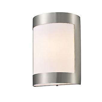 Inspiriert Deco - Clayton - Flush Wandleuchte 1 Licht E27 IP44 Exterior Plain Design Edelstahl, Opal