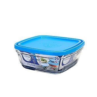 Duralex Freshbox Square Bowl with Blue Lid, 17cm