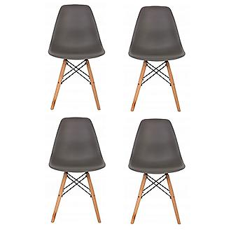 Set of 4 dining chairs - wood & plastic seat - dark grey