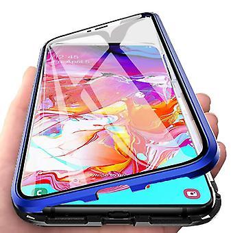 Stoff zertifiziert® Samsung Galaxy A40 magnetische 360 ° Fall mit gehärtetem Glas - Ganzkörper-Cover-Etui + Bildschirmschutz blau