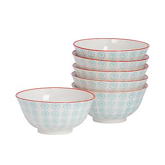 6 Piece Hand-Printed Cereal Bowl Set - Japanese Style Porcelain Breakfast Dessert Serving Bowls - Turquoise - 16cm