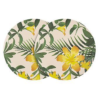 Nicola Spring 6 Piece Eco-Friendly Bamboo Dinner Plates Set - Natural Fibre Picnic Dinnerware Serving Plate - 25.5cm - Tropical