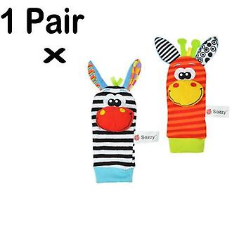 Newborn Baby Infant Boys Girls Cartoon Animal Soft Rattles Wristband Finders