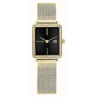 טומי הילפיגר 1782295 לבוש זהב & שחור מרובע נשים שעונים