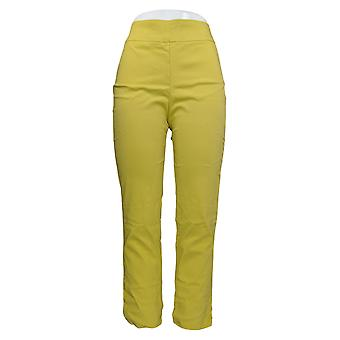 MarlaWynne Women's Pants Stretch Twill Pull On With Slit Yellow 646-478