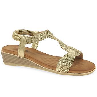 Heavenly Feet Marisol Womens Low Wedge Heel Sandals