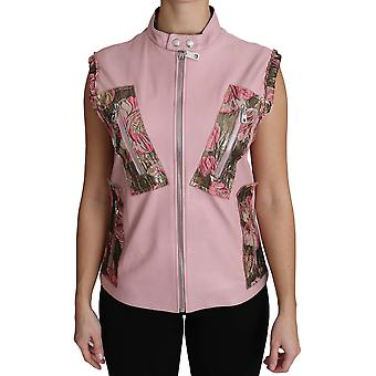 Dolce & Gabbana Pink Zippered Lamb Sleeveless Vest Leather Jacket