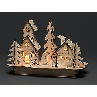 Konstsmide Wood Silhouette Lit House & Animal 3238-100