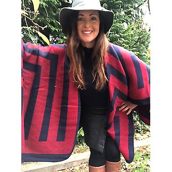 Belle Divino Quality Striped Stylish Poncho Warm Winter Red / Navy