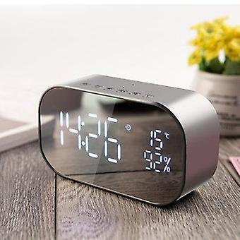 Bærbar LED Trådløs bluetooth højttaler dobbeltenheder FM Radio Alarmur