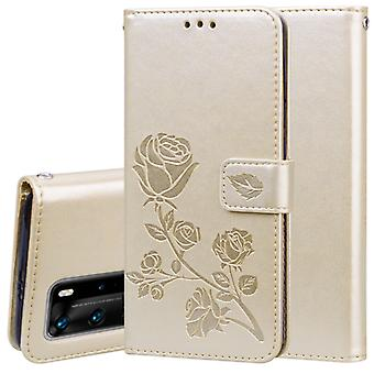 For Huawei P40 Pro Rose Embossed Horizontal Flip PU Leather Case with Holder & Card Slots & Wallet(Gold)