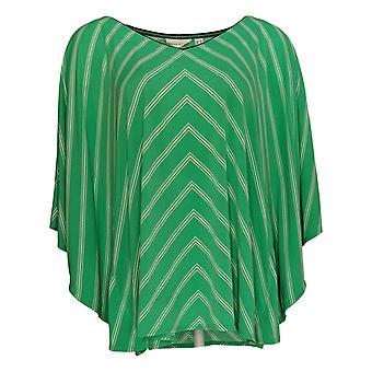 Susan Graver Women's Top Striped Short Sleeve V Neck Green A254451