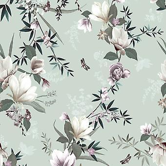 Lipsy Lotus Wallpaper Duck Egg Muriva 144050