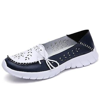 Genuine Leather Summer Shoes Woman, Slip-on Ballerina Flats Mother Boat Shoes