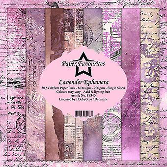 Paper Favourites Lavender Ephemera 12x12 Inch Paper Pack