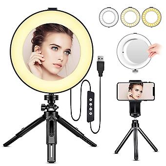 Led ring light - bestope 8 inch ringlight make up light with mirror & tripod stand & phone holder fo