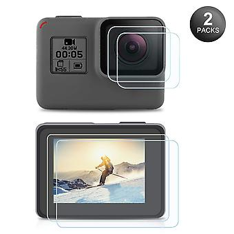 Screen protector for gopro hero 7(only black)/ hero 6/ hero 5/2018, ultra clear tempered glass scree