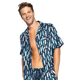 Cyberjammies Elliot 6562 Mænd's Navy Blue Mix Surfboard Bomuld Pyjamas Top