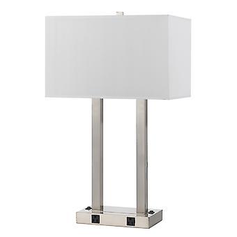 Lámpara de escritorio 60W X 2 con sombra rectangular y tira de alimentación, plata y blanco