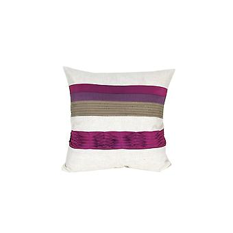 Fabric Accent Pillow With Piping Work,White And Purple