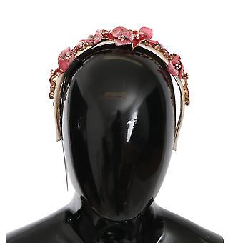 Rosso Rosa Cristallo di seta Floreale Diadem Tiara Fascia