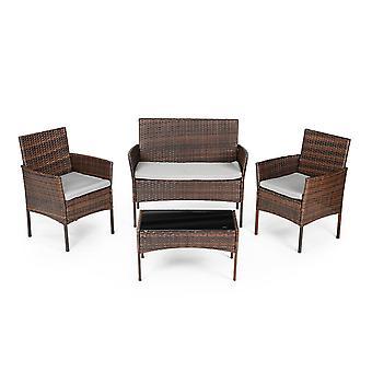 Garden furniture set brown - table + 2x armchair and rattan sofa