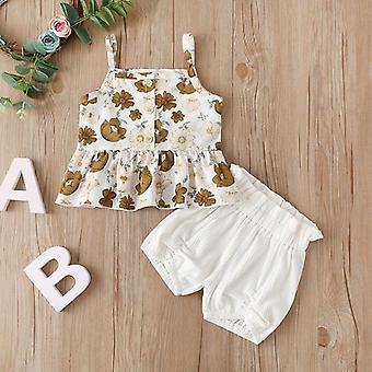 Cute Toddler Kid Sleeveless Chiffon Tops, Floral Tutu Skirts