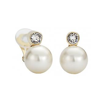 Traveller Clip Earring - 12mm Cream Pearl - 22ct Gold Plated - 113486 - 375