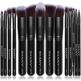 SHANY Black Bombshell 14-Piece Brush Set – Elite Cosmetics Brush Collection - Complete Kabuki Makeup Brush Set - 14 PCS