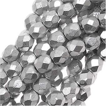 Czech Fire Polished Glass Beads 4mm Round Matte Metallic Silver (50)
