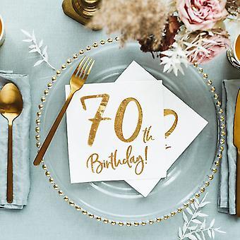 70e anniversaire blanc Party serviettes de table en x 20 texte or