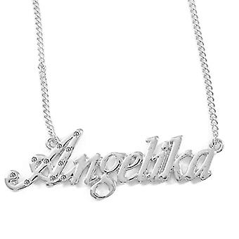 """L Angelika - 18-carat White Gold Plated Necklace, with Custom Name, Adjustable Chain of 16""""- 19"""", in Ref Pack. 496330313849"""