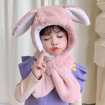 Pluche konijn oren winter hoed voor kind verstelbare sjaal